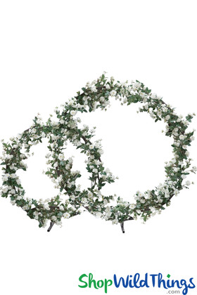 Double Circles Artificial Flowering Tree Backdrop 7' Tall x 8.5' Wide - Ivory Roses