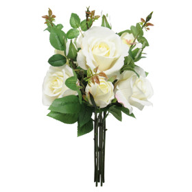 Ivory Rose Bouquet   Artificial Rose Spray   Instant Wedding Centerpiece Flowers   ShopWildThings.com