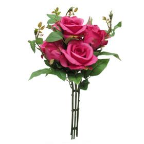 Fuchsia Pink Rose Bouquet   Artificial Rose Spray   Bright Wedding Centerpiece Flowers   ShopWildThings.com