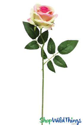 Long Stem Cream Pink Velvet Rose | Artificial Rose Spray | Summer Wedding Flowers for Bouquets | ShopWildThings.com