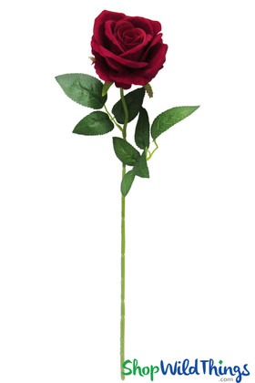 Long Stem Red Velvet Rose | Artificial Rose Spray | Wedding Flowers for Bouquets | ShopWildThings.com