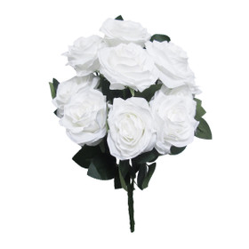 White Wedding Flower Bouquets   Artificial White Rose Bush Spray   Silk Floral Centerpieces   ShopWildThings.com