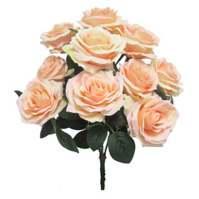 Wedding Flower Bouquets | Artificial Blush Peach Rose Bush Spray | Silk Floral Centerpieces | ShopWildThings.com