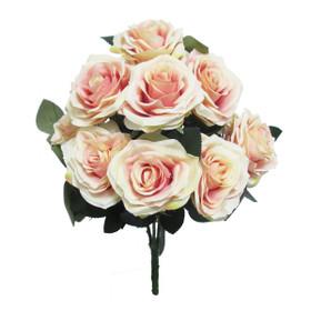 Artificial Wedding Flower Bouquet | Ivory Pink Rose Bush Spray | Silk Floral Centerpieces | ShopWildThings.com