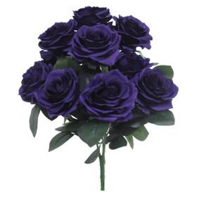 Purple Rose Bush Flower Spray | Artificial Centerpiece Bouquets | Silk  Roses | ShopWildThings.com