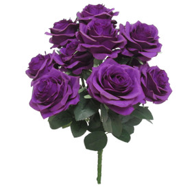 Artificial Wedding Bouquet | Silk Rose Bush Spray | Faux Purple Flowers | ShopWildThings.com