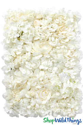 Artificial Flower Wall Panels | Ivory Floral Backdrop | DIY Flower Wall | ShopWildThings.com