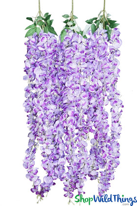 Hanging Flower Garlands | Faux Purple Wisteria Plants | ShopWildThings.com