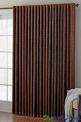 Dark Brown Bamboo Curtain with Tab Tops - ShopWildThings.com