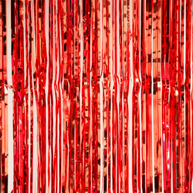 Valentines Party Prop | Shiny Metallic Red Curtain Photo Backdrop | ShopWildThings.com