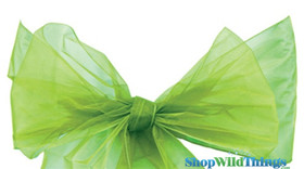 Bright Green Chair Bows | Green Organza Ribbons | ShopWildThings.com