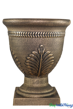 Bronze Gold Planter Urn for Indoor Outdoor Use with Matching Pedestals ShopWildThings.com