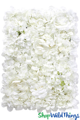 White Artificial Flowers Backdrop Panel for Floral Wall Wedding Decoration ShopWildThings.com
