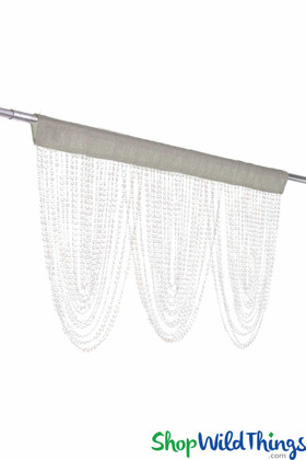 Crystal Beaded Fabric Top Valance | Elegant Triple Swag Window Dressing | ShopWildThings.com