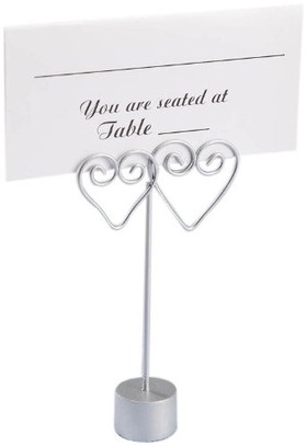 BOGO Card Holders - Silver Double Hearts - Set of 12