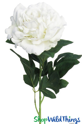 Long Stem Cream White Velvet Peony | Jumbo Artificial Flowers| Wedding & Event Flowers | ShopWildThings.com