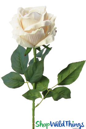 Giant Faux Cream Ivory Velvet Rose, Long Stem Deluxe Jumbo Flowers for Wedding & Events by ShopWildThings.com