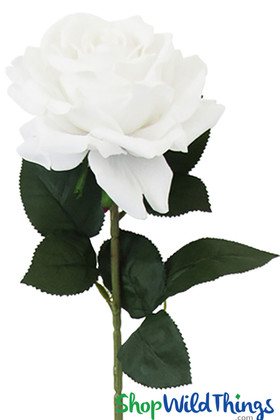 Giant Faux Cream White Velvet Rose, Long Stem Deluxe Jumbo Flowers for Wedding & Events by ShopWildThings.com
