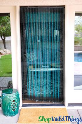 Ocean Blue Wooden Door Beads Aqua Boho Beaded Curtains ShopWildThings.com