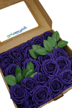 Purple Wedding and Craft Flowers with Stem 25 pc Box Set with Optional Leaves