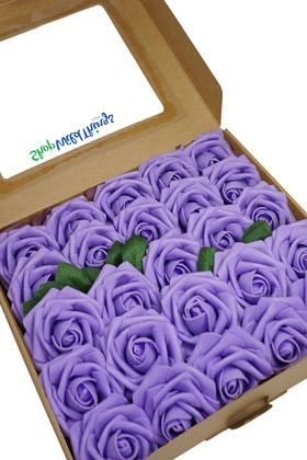 Lavender Purple Box of Artificial Flowers Set of 25 pcs with Extra Leaves on Stems