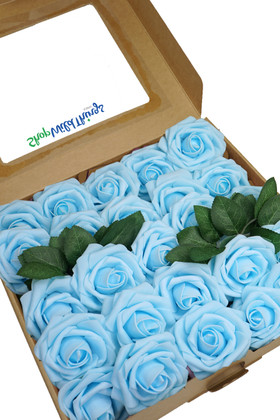 Light Blue Foam Craft Roses Box Set 25 pcs with Stem and Green Leaves ShopWildthings.com
