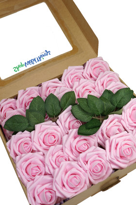 Pink Craft Flowers Box of 25 Roses on Stem with Optional Leaves ShopWildThings.com