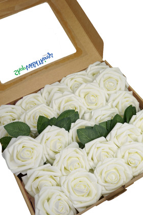 Ivory Foam Rose Box Set Flowers with Bendable Wire Stem Crafts, Wedding Decorations