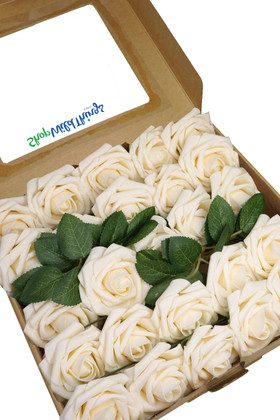 Cream Artificial Roses in Box Set of 25 for Crafts, Wedding Bouquet, Centerpiece ShopWildThings
