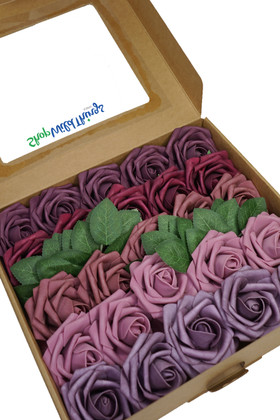 Mauve, Pink, Purple, Burgundy Roses on Stems Box Set for Wedding Decor ShopWildThings