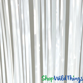 White Fringe Curtain Cheap Backdrop Foil Mylar Strands for Parties ShopWildThings.com