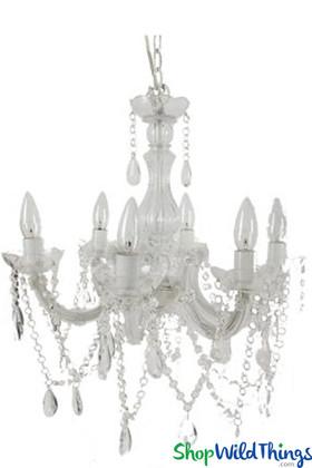 White Crystal Beaded Fancy Chandelier, Modern Lighting Fixture, Decorative Ceiling Light | ShopWildThings