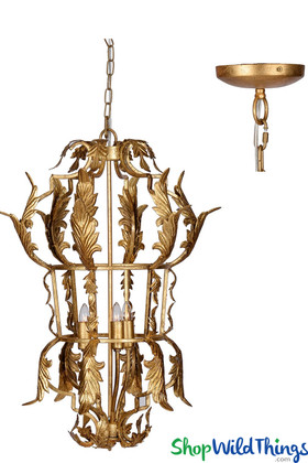 Gold Leaf Cage Chandelier, Fancy Hardwired Contemporary Lighting Fixture | ShopWildThings.com