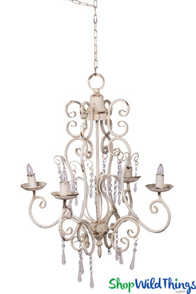 Crystal Beaded Decorative Chandelier, Antique White Swirl, Rustic Lighting | ShopWildThings.com