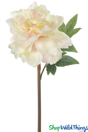 White With Pink Faux Peony Sprays, Artificial Florals For Bouquets & Centerpieces, White Wedding Flowers   ShopWildThings.com
