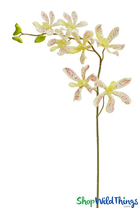 Artificial White Orchid Spray, Spotted Orchid Bendable Floral Stem, Faux Wedding & Event Flowers | ShopWildThings.com