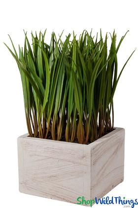 Artificial Grass in Planter, Decorative Faux Grass in Pot, Ornamental Greenery Foliage | ShopWildThings.com