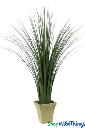 Faux Ornamental Grass In Pot, Decorative Artificial Potted Greenery, Tall Wild Grass Foliage | ShopWildThings.com