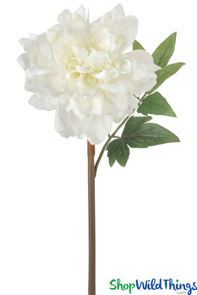 Faux White Peony Stems, White Silk Flower Sprays for Wedding Bouquets | ShopWildThings.com