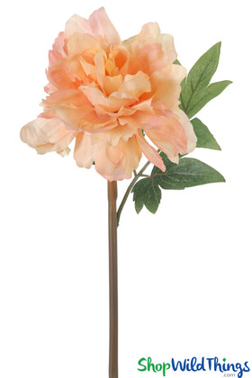 Peach Color Flowers, Faux Peach Peony Stems, Artificial Flowers for Wedding Bouquet | ShopWildThings.com