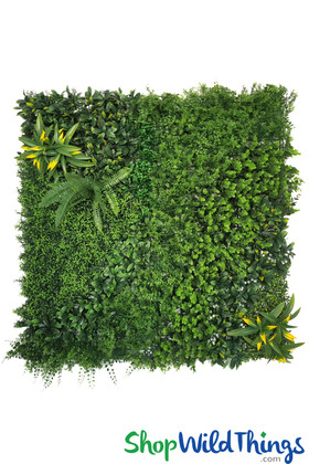 Lush Greenery Wall with Assorted Plants and Foliage ShopWildThings.com