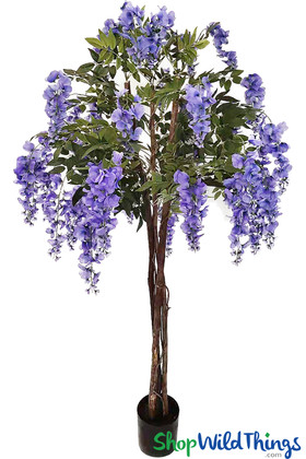 Purple Artificial Silk Wisteria Flowers, Wedding Event Party Trees ShopWildThings Tabletop Centerpiece Trees in Pot Purple Florals