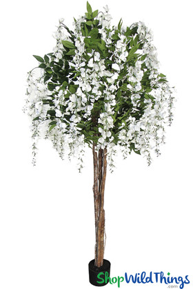 Fake Flower Tree White Wisteria Flowering Trees Tabletop Decoration ShopWildThings Centerpieces