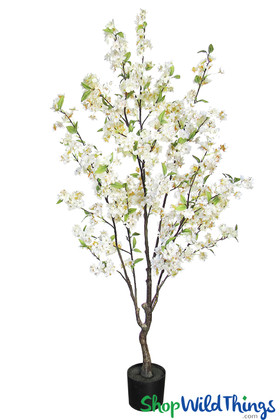 White Flowering Centerpiece Tree Artificial Cherry Blossoms Trees Tabletop Size 4.5 Feet ShopWildThings.com