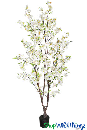 White Cherry Blossom Fake Centerpiece Tabletop Tree Silk Flowering Trees ShopWildThings.com
