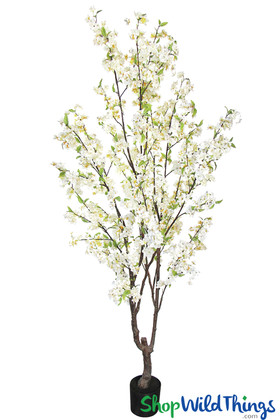 White Artificial Cherry Tree Silk Blossoms Weddings and Event Trees ShopWildThings.com 6.5 Feet Tall