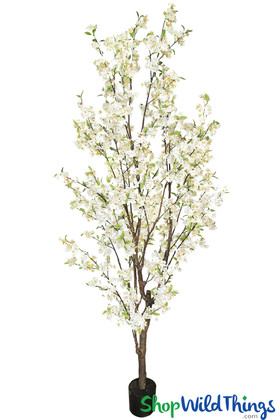 Natural Cherry Blossom Tree White Potted 8.5 Feet Tall Artificial Event Tree ShopWildThings.com
