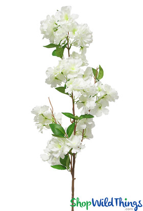 """Realistic Silk Sprays, Extra Full Triple Bloom, 40"""" Cream White Bendable Cherry Blossom Branches by ShopWildThings.com"""