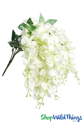 Draping Cream White Wisteria Bush Spray, 15 Cascading Shoots for Bridal Bouquet or Silk Centerpieces by ShopWildThings.com
