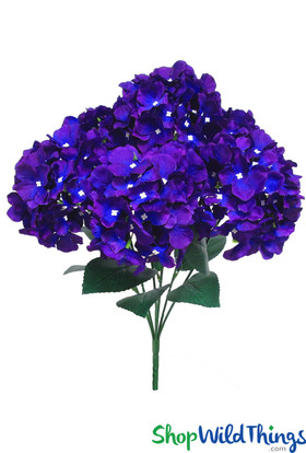 "Purple & Blue Hydrangea Bouquet, 21"" Tall 6 Head Bendable Centerpiece Flowers, Artificial Wedding Bouquet, Quality Silk Florals by ShopWildThings.com"